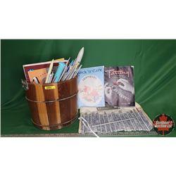Wood Bucket with Knitting Needles & Pattern Books
