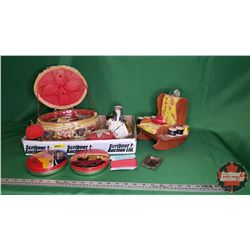 Tray Lot - Seamstress Collector Combo: Wicker Sewing Basket, Pin Cushion Chair, Lady, Tomato, Globe,