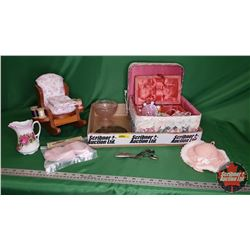 Tray Lot - Seamstress Collector Combo: Sewing Basket, Tin, Pin Cushion Chair, Pink Baby Shoes, Pink