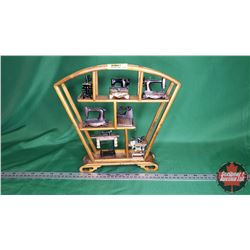 "Miniature Sewing Machine Ornaments (6) & Miniature Iron (1) + Curio Display Shelf (11""H x 12""W x 2-1"