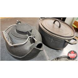 Cast Iron Cookware (4 Pcs) Pot, Roaster, Waffle Maker, Kettle