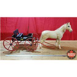 "Custom Built Buckboard (Red/Black) & 1 Horse (Buckboard = 14""H x 15""W x 39""L including Shafts) (Resi"