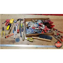 Tray Lot - Hand Tools: Clamps, Pliers, Screwdrivers, Hammer, Brush, etc