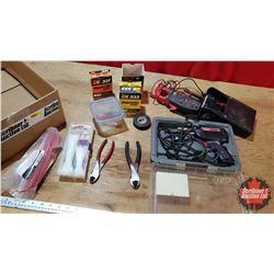 Box Lot: Weller Soldering Iron, Clamp Multi Meter, Marrets, Zip Ties, Side Cutters, Elec Tape, etc