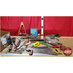 Box Lot - Carpentry Tools: Level, Square, Small Wood Lathe, Chalkline, Hand Saws, Shop Tips Book, et