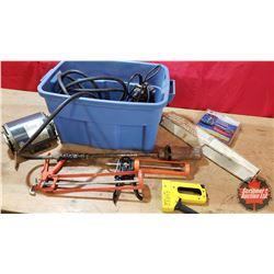 Tote Lot : Tiger Torch, 115v Electric Motor 1/3hp, Caulking Guns (lg & sm), Sump Pump, Heat Tape, et