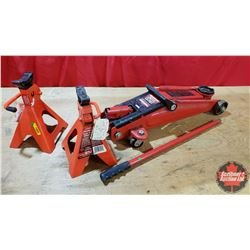 2-1/2 Ton Floor Jack & Pair of Jack Stands