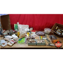 2 Box Lots - Woodwork Shop Items : Ornamental Mouldings, Paint Brushes, Hooks, Screws, Biscuits, Pen
