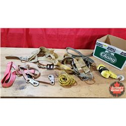 """Miller Safety Harness Size M (Date 12/85) Tie Off Lanyard + 2"""" Strap with Hooks & Small Rope"""