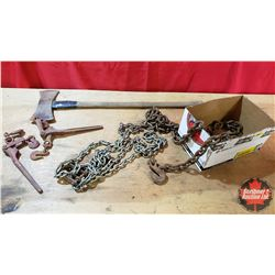"""10' of 1/4"""" Chain & 2 Boomers 1/4"""" & 12' of 3/8"""" Chain & Double Head Axe"""