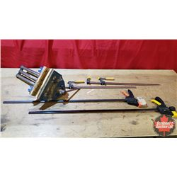 """Record Woodworking Vise (Jaw Width 9"""") & 2 Bar Clamps (27"""") & 2 Bar Clamps (40"""")"""
