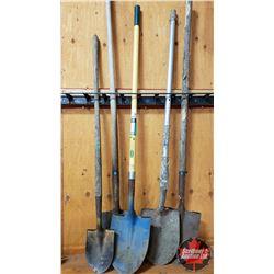 Spade Combo: 1 Fiberglass Handle, 1 Aluminum Handle, 2 Wood Handle, 1 Mini Spade