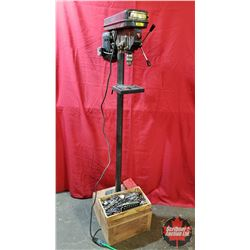 Trade Master Drill Press Mounted on Wooden Box (c/w: Box of Drill Bits, Drill Gauges, Hole Saws, Scr
