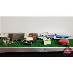 Toy Combo: 1/64 Atlas Van Lines Semi Truck/Trailer & 1/32 Corvette & 1/32 Woody Wagon & Metal Semi T