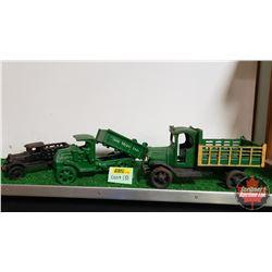 """3 Cast Iron Toy Trucks (10""""L) (9""""L) (6""""L)"""