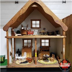 """Wonderful Custom Built Wooden Doll House - Fully Furnished (and 3 Cats) (32""""H x 27""""W x 16""""D)"""