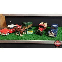 Watkins Collector Toy Banks : Horse & Wagon / Kenworth Truck / 46 Suburban / 57 Chevy