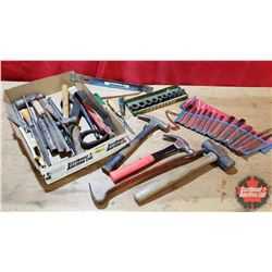 Tray Lot - Tools: Hammers, Pry Bars, Impact Sockets, Punches, Chisels, etc