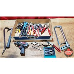Tray Lot - Tools : Tin Snips, Pry Bars, Hack Saw, Hammer, Tire Gauge, Soldering Iron, etc