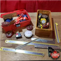 Wooden Box of Tape Measures, Squares, Rulers & Plastic Box of Flagging Tape