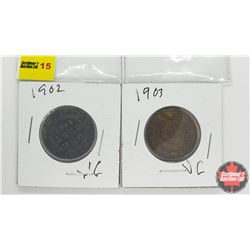 Canada Large Cent - Strip of 2: 1902; 1903