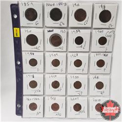 Canada One Cent - Sheet of 20: 1859; 1882H; 1912; 1916; 1917; 1913; 1934; 1947ML; 1950; 1959; 1963;