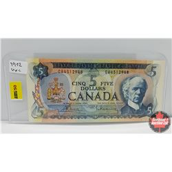 Canada $5 Bill 1972 S/N#GA4512948 Bouey/Rasminsky
