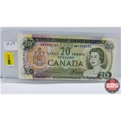 Canada $20 Bill 1969 S/N#WW1500733 Lawson/Bouey