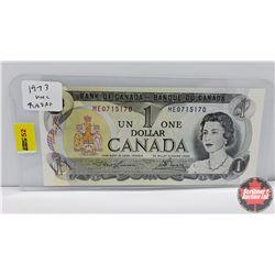 """Canada $1 Bill 1973 """"Radar"""" S/N#ME0715170 Lawson/Bouey"""