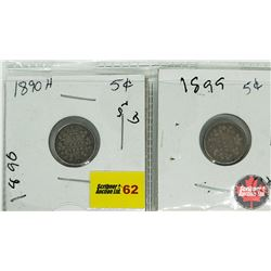 Canada Five Cent - Strip of 2: 1890H; 1899