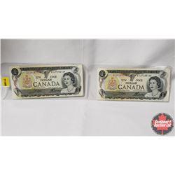 Canada $1 Bills 1973 - 2 Sequential: S/N#ECJ7133129/30 Crow/Bouey