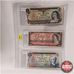 Canada Bills - Sheet of 3: $1 Bill 1973 S/N# *FN3373737 & $2 Bill 1954 S/N#OG9320405 & $5 Bill 1972