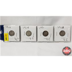 Canada Ten Cent - Strip of 4: 1913; 1919; 1921; 1928