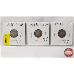 Canada Ten Cent - Strip of 3: 1931; 1934; 1936