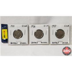 US Buffalo Nickel - Strip of 3: 1935; 1936; 1937