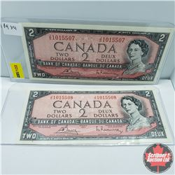 Canada $2 Bills 1954 (2 Sequential) : S/N#JG1015507/08 Bouey/Rasminsky