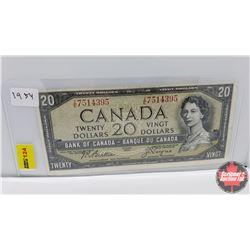 Canada $20 Bill 1954 S/N#IE7514395