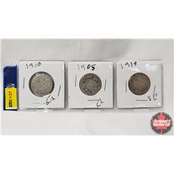 Canada Twenty Five Cent - Strip of 3: 1910; 1905; 1919