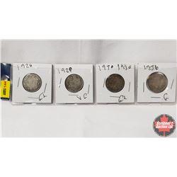 Canada Twenty Five Cent - Strip of 4: 1928; 1929; 1930; 1936
