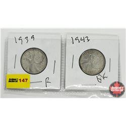 Canada Twenty Five Cent - Strip of 2: 1939; 1943