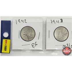 Canada Twenty Five Cent - Strip of 2: 1942; 1943