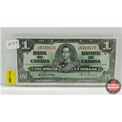 Canada $1 Bill 1937 S/N#JM6319170 Gordon/Towers