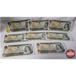 Canada $1 Bills 1973 - 8 Sequential: S/N#EAZ4115702-09
