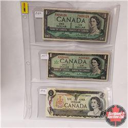 Canada $1 Bills - Sheet of 3: 1954 S/N#MF9050124 ; 1967 S/N#GP2058401 ; 1973 S/N# *FV6144559
