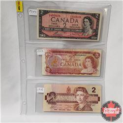 Canada $1 Bills - Sheet of 3: 1954 S/N#FG4668608 ; 1974 S/N#AGV5684027 ; 1986 S/N#BUG6471712