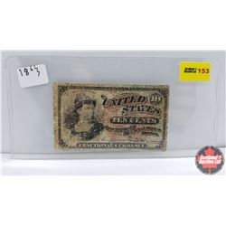 US Ten Cent Fractional Currency Bill 1863