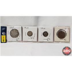 Canada Coins 1917 - Strip of 4: 50¢; 10¢; 5¢; 1¢