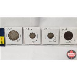 Canada Coins 1918 - Strip of 4: 50¢; 10¢; 10¢; 1¢