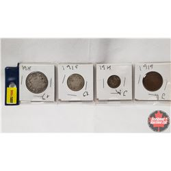 Canada Coins 1919 - Strip of 4: 50¢; 25¢; 10¢; 1¢