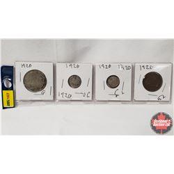 Canada Coins 1920 - Strip of 4: 50¢; 10¢; 5¢; 1¢